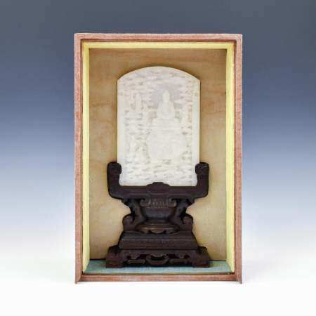Qing Dynasty WHITE JADE TABLE SCREEN ON STAND