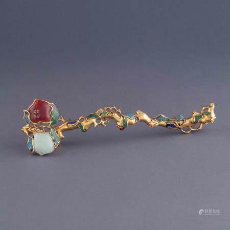 Qing Dynasty STONES INLAID GILT BRONZE RUYI SCEPTER
