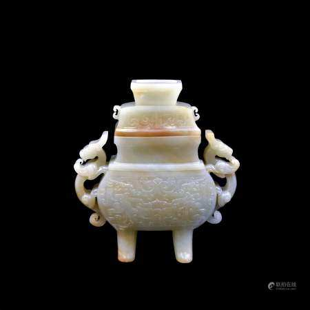 Qing Dynasty CHINESE JADE LIDDED SQUARE CENSER DRAGON HANDLES
