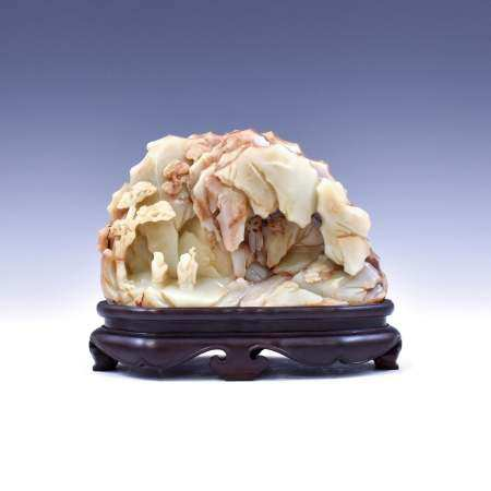 Qing Dynasty JADE MOUNTAIN ON STAND
