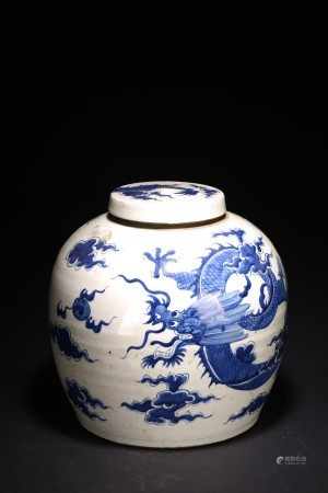 A CHINESE BLUE AND WHITE 'DRAGON' JAR AND COVER