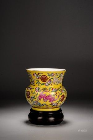 A CHINESE FAMILLE ROSE YELLOW GROUND JAR, ZHADOU