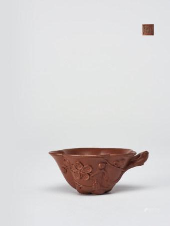 清康熙  陈原圣制  五瓣梅花杯
