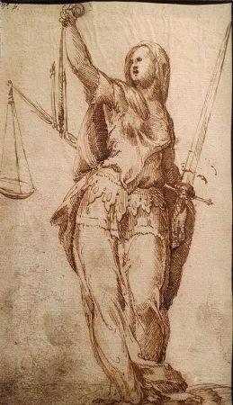 ÉCOLE ITALIENNE DU XVIÈME SIÈCLE - Allégorie de la Justice Lavis d'encre brune [...]