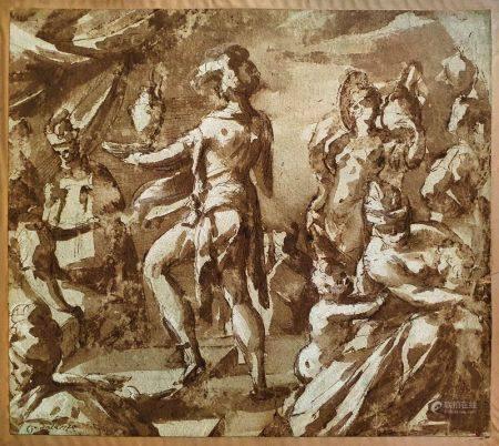 ECOLE ITALIENNE DE LA FIN DU XVIÈME SIÈCLE - Scène tirée de l'Antique Lavis [...]