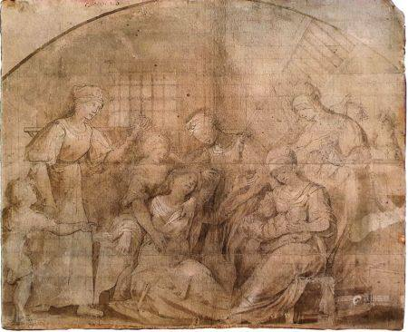 ECOLE ITALIENNE DU XVIÈME SIÈCLE - Scène d'accouchement en intérieur Mine de [...]
