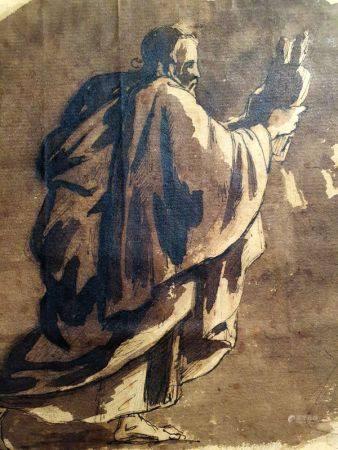 ECOLE FRANÇAISE DU XVIIÈME SIÈCLE - Moïse tenant les tables de la Loi Plume, [...]