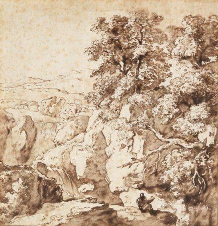 CHRISTIAN WILHELM ERNST DIETRICH (1712-1774) - Personnage au bord d'une [...]