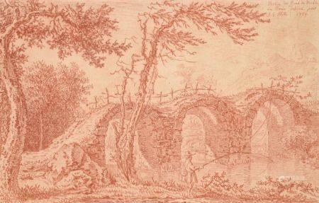 JOHANN GEORG WILLE (1715-1808) - Pêcheurs sous le pont du Diable en [...]