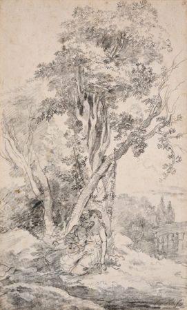 ECOLE FRANÇAISE DU XVIIIÈME SIÈCLE - Un couple dans un paysage arboré, un temple [...]