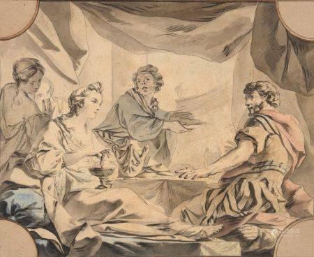 JEAN-BAPTISTE-MARIE PIERRE (1714-1789) - Le repas d'Antoine et Cléopâtre Plume et [...]
