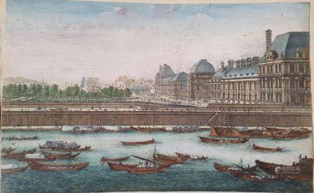 GRAVURE EN COULEURS D'ÉPOQUE XVIIIÈME SIÈCLE - Figurant les quais du Louvre 30 x [...]