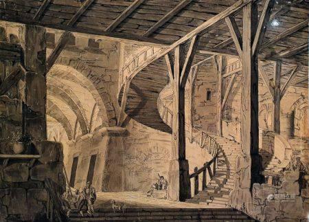 ECOLE FRANÇAISE DU XVIIIÈME SIÈCLE - Intérieur à l'escalier Plume, encre noire [...]