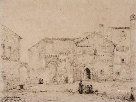 FRANÇOIS MARIUS GRANET (1775-1849) - Place animée à Tivoli Plume et encre brune [...]