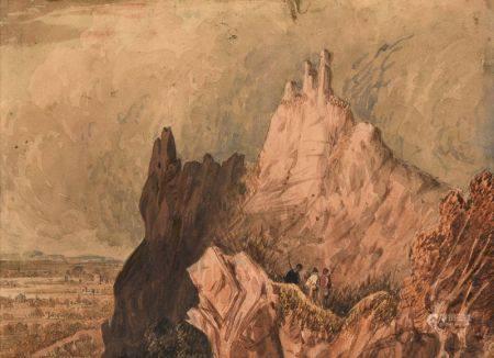 ECOLE ANGLAISE, XIXÈME SIÈCLE - Vue du Drachenfels sur le Rhin Aquarelle Traces de [...]
