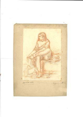 ATTRIBUÉ À JEAN FRANÇOIS MILLET (1814-1875) - Etude de jeune femme se lavant le [...]