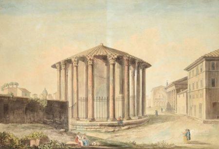ECOLE CIRCA 1800 - Silhouettes aux abords d'un monument antique à Rome Aquarelle [...]