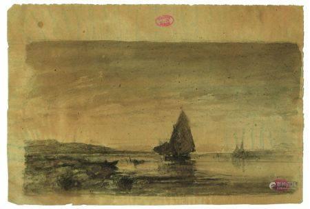 FÉLIX ZIEM (1821-1911) - Voilier sur la côte provençale Lavis d'encre de [...]