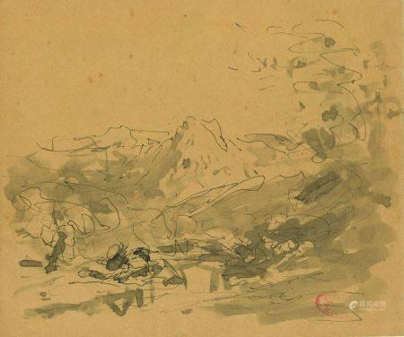 FÉLIX ZIEM (1821-1911) - Colline aux environs de Marseille Lavis d'encre de [...]