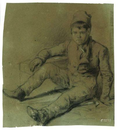 FÉLIX ZIEM (1821-1911) - Jeune garçon assis Crayon gras Porte le cachet de [...]