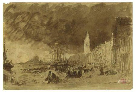 FÉLIX ZIEM (1821-1911) - Quai animé à Venise Lavis d'encre de Chine Porte le [...]