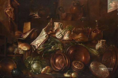 GIOVANNI DOMENICO VALENTINI (1639-1715) - Dans la cuisine, ustensiles en cuivre, [...]