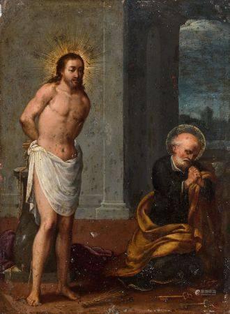 ECOLE ITALIENNE VERS 1600 - Le repentir de Saint Pierre à côté du Christ à la [...]