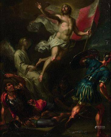 ECOLE FLAMANDE DU XVIIÈME SIÈCLE - La résurrection Toile 45 x 37 cm -