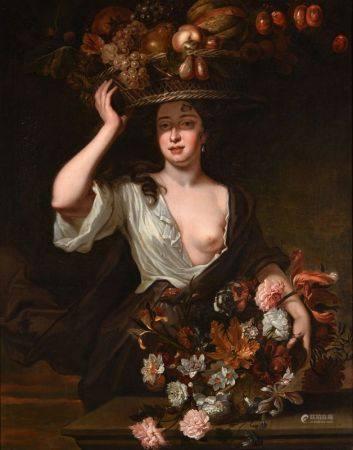 ECOLE FLAMANDE DU DÉBUT DU XVIIIÈME SIÈCLE - Portrait de dame aux paniers de [...]
