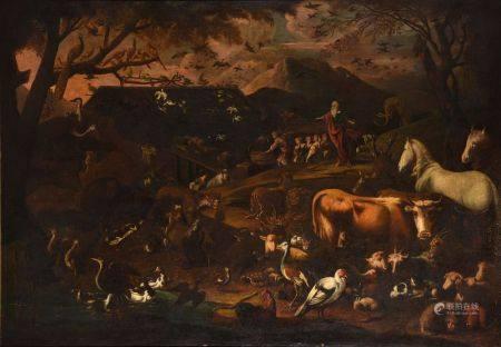 ECOLE GENOISE VERS 1640 - Noé sortant de l'Arche  Huile sur toile 150 x 220 cm -