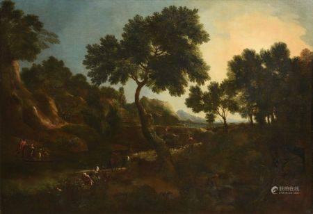 ECOLE DU XVIIÈME SIÈCLE - Paysans aux abords d'une rivière Huile sur toile 171 x [...]