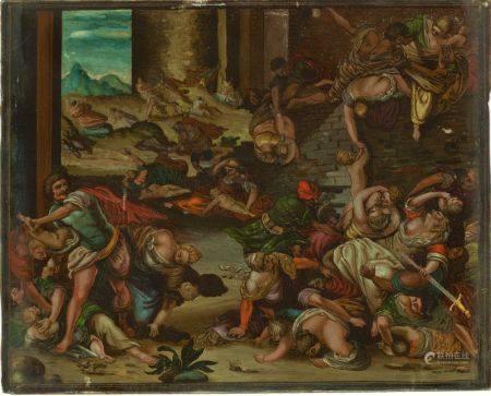 ECOLE DU NORD DU XVII - XVIIIEME SIECLE - Le massacre des innocents Fixé sous verre [...]