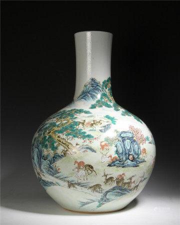 清代 粉彩百鹿紋天球瓶