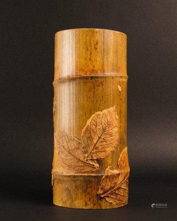 竹雕葉紋花插