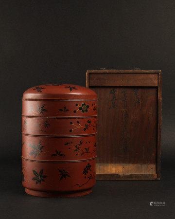 清代 朱漆黑花蓋盒