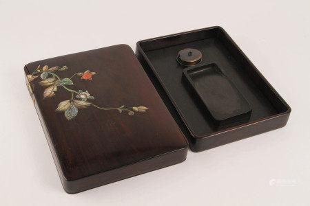 清代 紫檀嵌百寶花卉紋硯盒