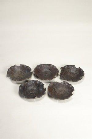銅荷葉形茶托 五件