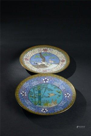 銅掐絲琺瑯花鳥紋盤 二件