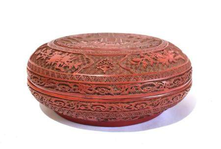 """A Large Chinese Cinnabar Lacquer Covered Box Carved with the """"Chun"""" Character on the Cover, with Qianlong Mark to the Base,"""