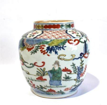 A Chinese Enamelled Wucai Jar Painted with Figures and Children, Wanli Mark to the Base,