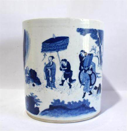 A Fine Chinese Porcelain Brushpot Painted in the Round in Sapphire Blue within an Incised Border, after the Transitional Period 17th...