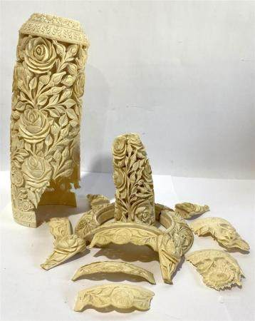 A Chinese Carved Mammoth Ivory Tusk, Large Roses & Buds with Leaves on a Mesh Ground, mid 20th C.,