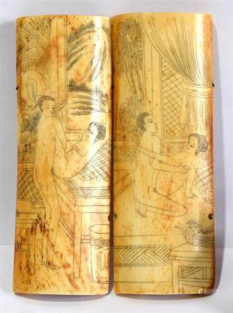 A Bone in Two Halves Incised in Ink with Erotic Scenes,