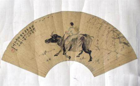 A Chinese Fan Painted Ink on Paper of a Boy Riding a Ox, After Wang Su [1794-1877]