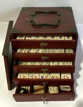 A Chinese Mahjong Set with Counters & Tiles in Bamboo & Bone in a Carry Box with Five Drawers, 20th C.,