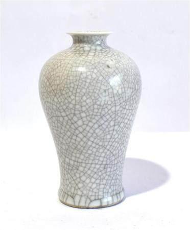 A Crackle Glazed Meiping Shaped Vase, Studio Mark 'Shen De Tang Bo Gu Zhi' to the Base,