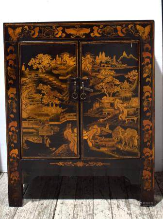 A Chinese Two Door Cabinet Painted Black Lacquer, 20th C.,