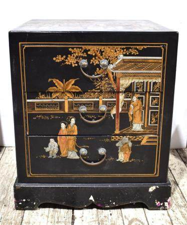 A Chinese Chest of Drawers Black Lacquer Painted with Figures, 20th C.,