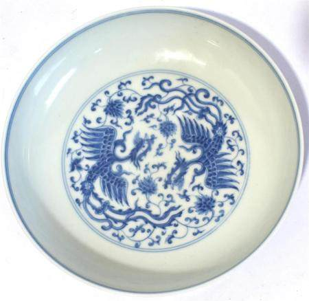 A Chinese Porcelain Blue & White Shallow Dish Finely Painted with Apposing Phoenix in a Central Medallion, Six Character Chenghua Mark,