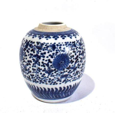 A Chinese Cobalt Blue & White Porcelain Jar, the Ovoid Shape with Lotus in a Continuous Meander on the Rounded Sides Between Bands o...